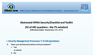 ClickCare HIPAA Emergency Checklist and Tool-Kit